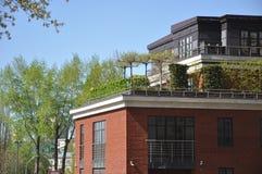 Индивидуальная зеленая рекреационная зона на крыше многоэтажного здания стоковое изображение rf