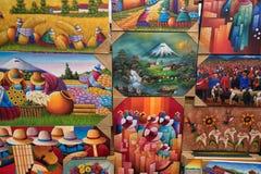 Индигенные красочные картины в Otavalo эквадоре Стоковое Изображение