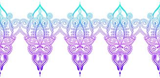 Индийская безшовная картина Пейсли, дизайн mehndi хны стоковое изображение rf