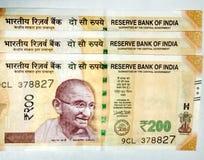 Индийская валюта примечаний 200 рупий стоковые изображения rf