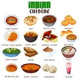 Индийская иллюстрация кухни еды Стоковые Изображения