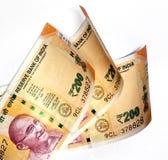 Индийские бумажные деньги 200 рупий стоковые фотографии rf