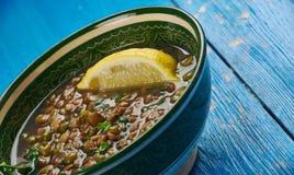 Индийские чечевицы сваренные с шпинатом Стоковое Фото