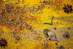 Индийский выбор специй над темным деревянным столом Еда или пряная варя концепция, здоровая предпосылка еды Плоское положение ско стоковые изображения rf