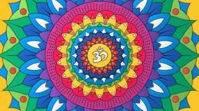 Индийский декоративный красочный круглый орнамент с символом Om бесплатная иллюстрация