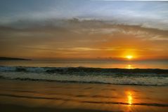 индийский заход солнца океана Стоковые Изображения RF