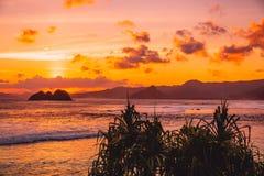Индийский океан с островом, ладонями и заходом солнца с облаками Океан с цветами захода солнца Стоковые Фотографии RF