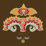 индийский павлин волшебства лотоса иллюстрация вектора