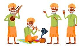 Индийский старик представляет установленный вектор индусско азиатско Престарелый Старшая персона агенства Танец кобры змейки рекл иллюстрация вектора