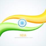 Индийский флаг в типе волны Стоковое Изображение