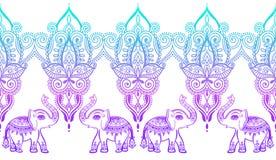 Индийский цветочный узор со слоном, дизайн татуировки mehndi хны стоковое изображение