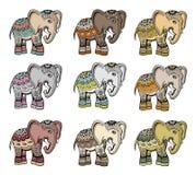 Индийский этнический комплект вектора слона Стоковое Изображение RF