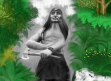 Индийское звероловство в лесе красочном иллюстрация штока
