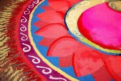 Индийское kolam с картиной цветка Стоковые Изображения