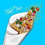 Индийское puri Bhel закуски улицы иллюстрация вектора