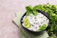 Индийское raita огурца с югуртом, мятой, cilantro Греческое tzatzi Стоковое Изображение RF