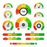 Индикаторы кредитного рейтинга Метр оценки датчика товаров спидометра Ровный индикатор, манометры займа кредита ведя счет иллюстрация штока