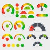 Индикатор вектора удовлетворения клиента с значками эмоций Оценка клиента эмотивная иллюстрация вектора
