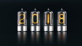 Индикатор трубки Nixie с номерами 2018 Новых Годов на темной предпосылке иллюстрация штока