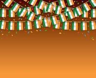 Индия сигнализирует предпосылку гирлянды темную с confetti иллюстрация вектора