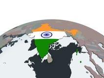 Индия с флагом на глобусе бесплатная иллюстрация