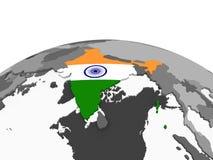 Индия с флагом на глобусе иллюстрация вектора