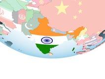 Индия с флагом на глобусе иллюстрация штока