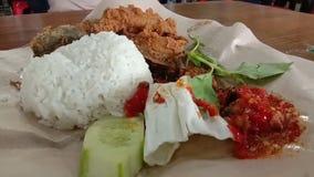Индонезийский зажаренный сом с белым рисом и соусом chili, индонезийской едой видеоматериал
