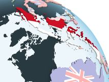 Индонезия с флагом на глобусе иллюстрация вектора