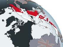 Индонезия с флагом на глобусе иллюстрация штока