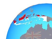 Индонезия с флагом на глобусе бесплатная иллюстрация