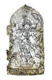 Индусский бог выигрывая сражение с демонами Собрание эскиза иллюстрация вектора