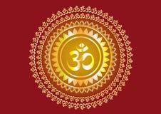 Индусский дизайн ` ` ` Shree ` сочинительства мантры и Aum ` или Om ` стоковые фотографии rf