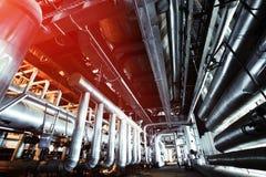 Индустриальная зона, стальные трубопроводы и насосы Стоковые Изображения RF
