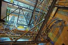 Индустриальная зона, стальные трубопроводы и насосы Стоковые Изображения