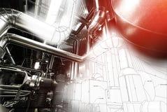 Индустриальная зона, стальные трубопроводы и насосы Стоковые Фотографии RF