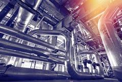 Индустриальная зона, стальные трубопроводы черно-белые Стоковое Изображение