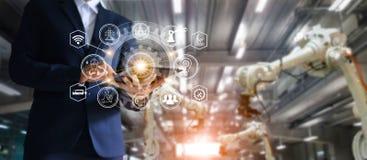 Индустрия, 4 автоматизация 0 концепция, подач значка и обмен данными стоковое изображение