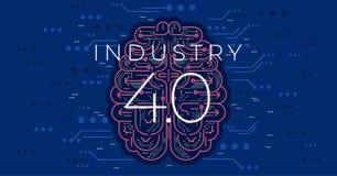 индустрия 4 0 иллюстраций вектора концепции Четвертый промышленный переворот иллюстрация штока