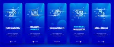 Индустрия Fintech, электронная коммерция, банковские обслуживания, вклады в знании, карточки передвижного банка вертикальные с иллюстрация штока