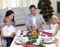 индюк отца обеда вырезывания рождества Стоковое фото RF