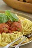 индюк спагетти meatball обеда Стоковое Изображение