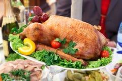 индюк таблицы жаркого тарелки обеда Стоковая Фотография RF