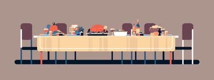 Индюк тыквы еды обеденного стола торжества благодарения традиционный вкусный выпивает концепцию установки никто горизонтальное бесплатная иллюстрация