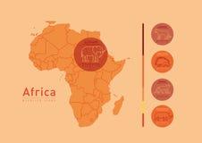 линейные значки на теме диких животных Африки Стоковые Изображения