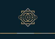 линейный логотип градиента на алхимии Стоковая Фотография