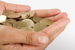 инец руки собрания монетки Стоковое фото RF