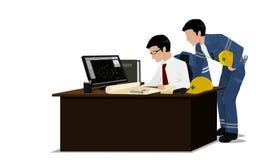 2 инженера проверяют чертеж Стоковая Фотография