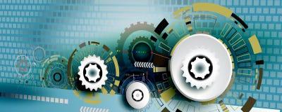 Инженерство колеса шестерни абстрактной технологии на квадратной предпосылке Стоковые Фотографии RF