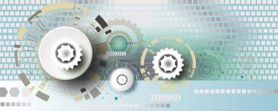 Инженерство колеса шестерни технологии на квадратной предпосылке Стоковые Фотографии RF